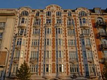 Art deco apartment building on Charbonnage quay in Brussels Stock Photos
