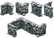 Brick and stone fence Stock Photos