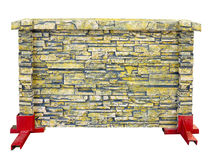 Brick stone prefabricated fence section isolated over white Stock Photos