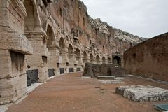 Ruins of walkway at colosseum. Brick and stone shape a walkway or path leading to the ampitheatre in a colosseum Royalty Free Stock Photos