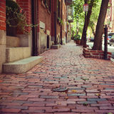 Brick and Stone Street in Boston, Massachusetts, USA Stock Image