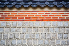 Brick and stone wall. Antique orange brick and gray stone wall in Gyeongbok palace, Seoul, South Korea Stock Photography