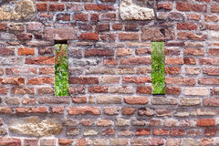 Brick and stone wall background with holes open to the nature Royalty Free Stock Image