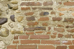 Brick and stone wall background. Stock Photo