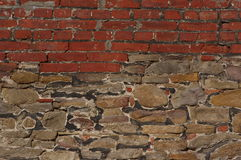 Brick and stone wall background texture - RAW format Royalty Free Stock Image