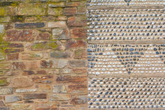 Brick and stone Wall Background. Brick Wall and stone wall together royalty free stock photography