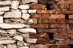 Brick and stone walls joint stock photography
