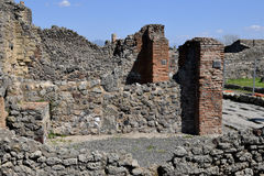 Brick and Stone  Walls, Pompeii Archaeological Site, nr Mount Vesuvius, Italy Royalty Free Stock Photo