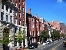 Brick Street front. With road Boston Royalty Free Stock Photos