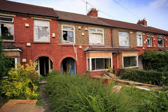 Brick terrace houses ready to be demolished. In Bristol, UK Royalty Free Stock Image