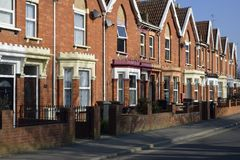 Brick Terraced Houses. Restored Brick Terraced Houses in Bridgwater, Somerset stock images