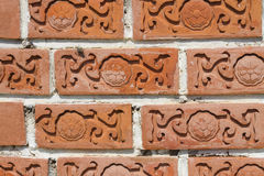 Brick texture. With the flower in site Royalty Free Stock Photo