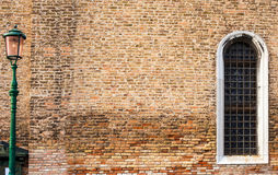 Brick texture with a window Stock Photos