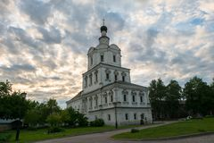Church of the Archangel Michael in Andronikov Monastery, Moscow. Brick three-story Church of the Archangel Michael in the Moscow Baroque style was built in Stock Image