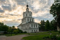Church of the Archangel Michael in Andronikov Monastery, Moscow. Brick three-story Church of the Archangel Michael in the Moscow Baroque style was built in Royalty Free Stock Photo
