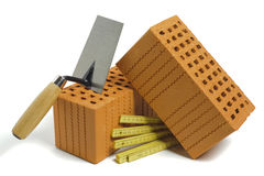 Brick and tools for house building stock image