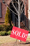 Brick Townhouse Sold Stock Photo