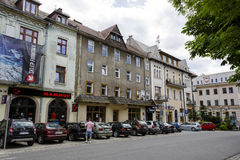Brick townhouse in Zakopane at Kosciuszki Str Stock Photo