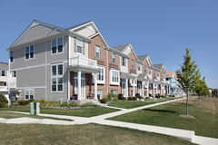 Brick townhouses in suburban development Stock Photo