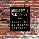 Brick traced texture, stencil alphabet and grunge rectangle. Three in one.  Vector set Royalty Free Stock Image
