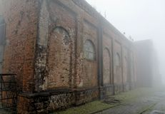 Brick Train Workshop in the Fog Royalty Free Stock Images