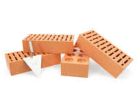 Brick with trowel for construction, erection of Stock Image