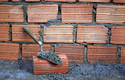 Brick and trowel Royalty Free Stock Photo