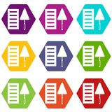 Brick and trowel icon set color hexahedron Stock Images