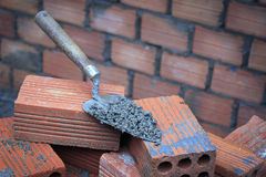 Brick and trowel Stock Photography