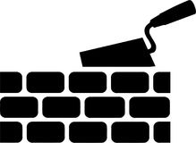 Brick with Trowel Symbol. Vector Royalty Free Stock Photography