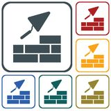 Brick with Trowel Symbol. Vector illustration Stock Images