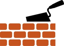 Brick with Trowel Symbol. Vector Royalty Free Stock Photo