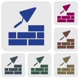Brick with Trowel Symbol. Vector illustration Stock Photo