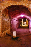 Brick tunnel with purple lights Stock Images
