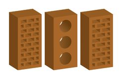 Brick types 3d like or isometric Royalty Free Stock Photography