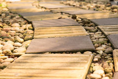 Brick walk way. Brown brick walk way as retro color and adjust to warm feeling Royalty Free Stock Photo
