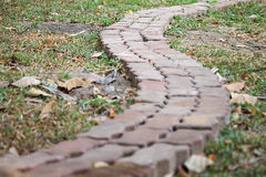 A brick walk way in the garden. A long blocks footpath in backyard Royalty Free Stock Image