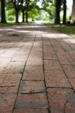 Brick Walkway. Red brick walkway lined by trees Stock Photos