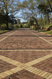 Brick Walkway. In park stock image