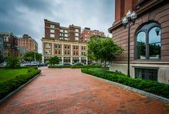 Brick walkway and buildings in Back Bay, Boston, Massachusetts. Stock Photo