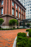 Brick walkway and buildings in Boston, Massachusetts. Royalty Free Stock Image