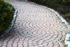 Brick walkway curving left Royalty Free Stock Image
