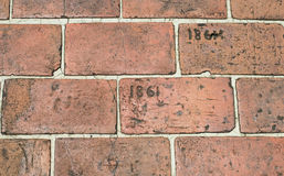 Brick Walkway Etched With Year 1861. A brick walkway etched with year 1861 Royalty Free Stock Photos
