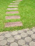 Brick walkway with grass Stock Photography