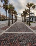 Brick Walkway Through Palm Trees. To Beach Access Stock Image