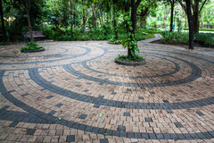 Brick walkway in the park. Royalty Free Stock Photos