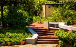 Brick walkways through gardens at the National Arboretum in Wash Royalty Free Stock Image