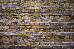 Brick wall. Dirty and weathered away yellow brick wall Royalty Free Stock Photos