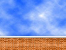 Brick wall. New brickwll with sky in background stock illustration