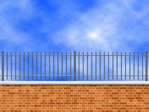 Brick wall. New brick wall with sky in background stock illustration